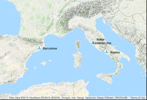 Itinéraire de la croisière : Espagne, Italie