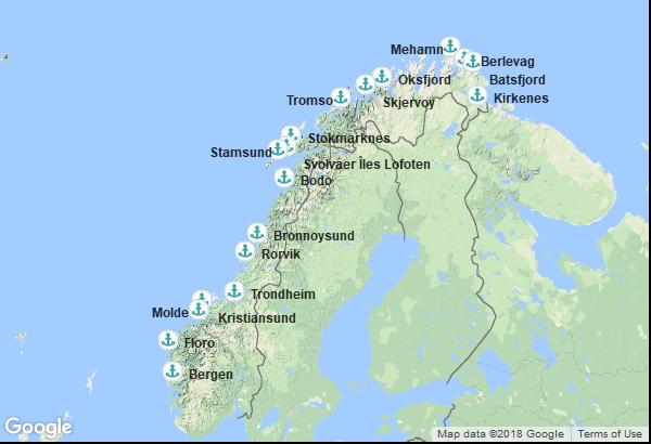 Itinéraire de la croisière : Norvège