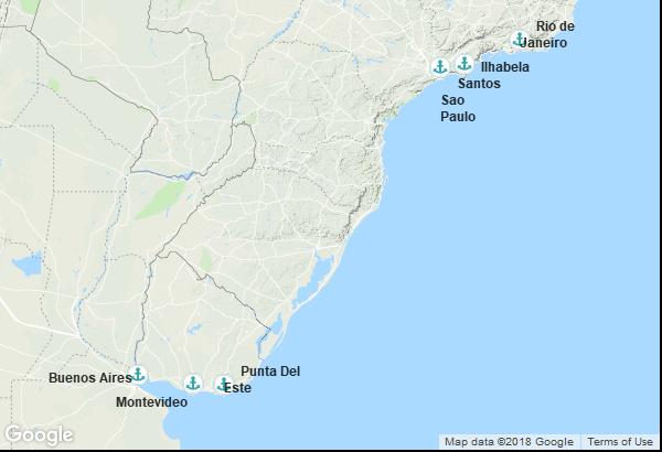 Itinéraire de la croisière : Brésil, Uruguay, Argentine