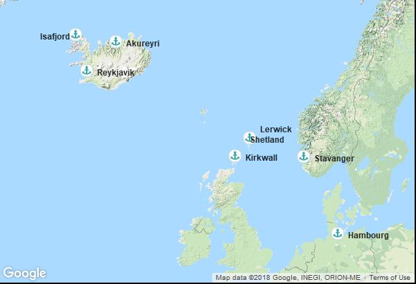 Itinéraire de la croisière : Allemagne, Norvège, Ecosse, Islande
