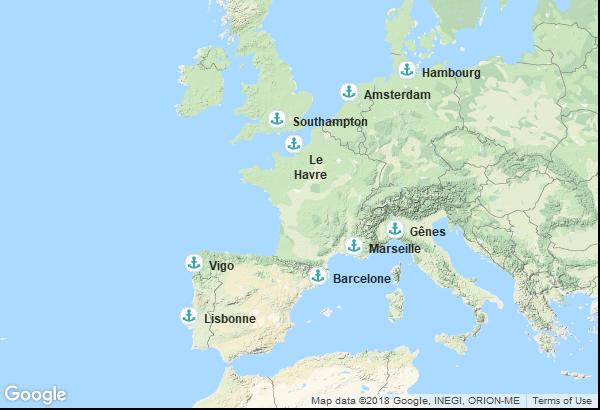 Itinéraire de la croisière : Pays Bas, Allemagne, France, Angleterre, Espagne, Portugal, Italie