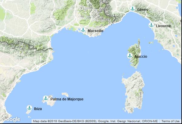Itinéraire de la croisière : Italie, France, Espagne, Îles Baléares