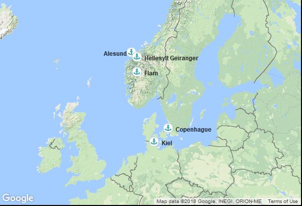 Itinéraire de la croisière : Allemagne, Danemark, Norvège
