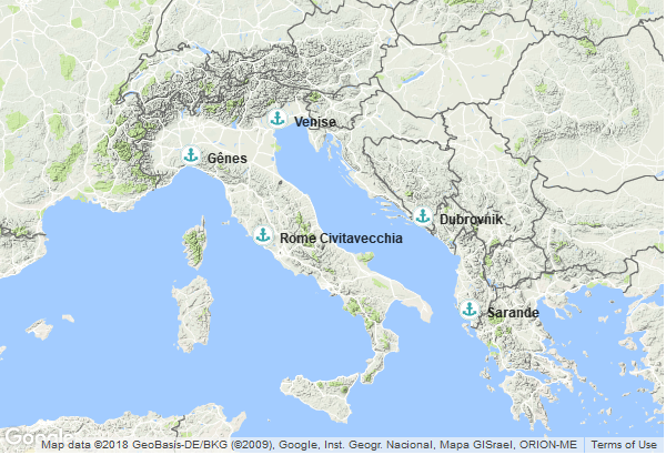 Itinéraire de la croisière : Italie, Croatie, Albanie