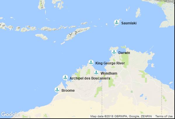 Itinéraire de la croisière : Australie, Indonésie