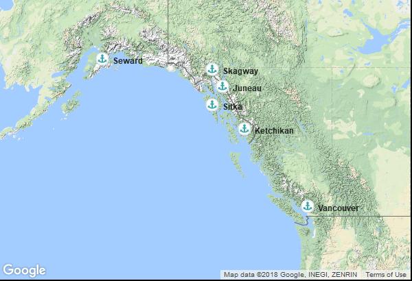 Itinéraire de la croisière : Canada, Alaska