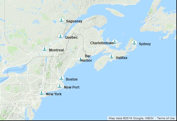 Itinéraire de la croisière : Canada, États-Unis
