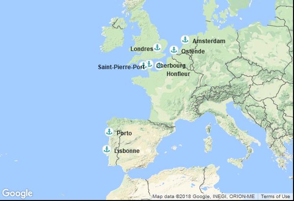 Itinéraire de la croisière : Portugal, Îles Anglo-Normandes, France, Belgique, Pays Bas, Angleterre