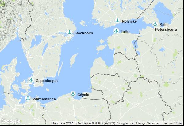 Itinéraire de la croisière : Danemark, Allemagne, Pologne, Estonie, Russie, Finlande, Suède