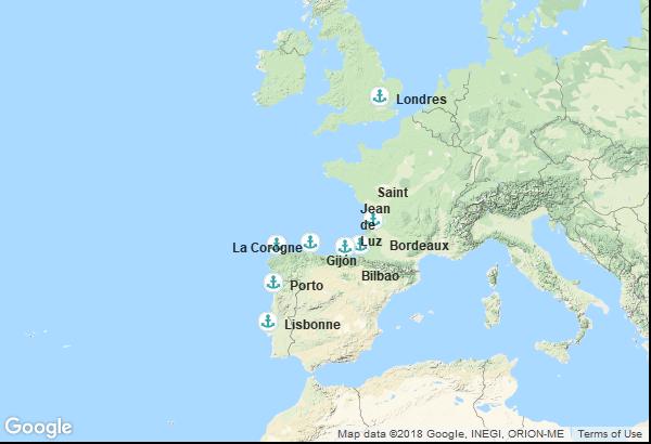 Itinéraire de la croisière : Angleterre, France, Espagne, Portugal