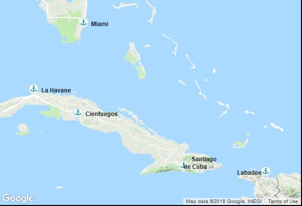 Itinéraire de la croisière : États-Unis, Cuba, Haiti