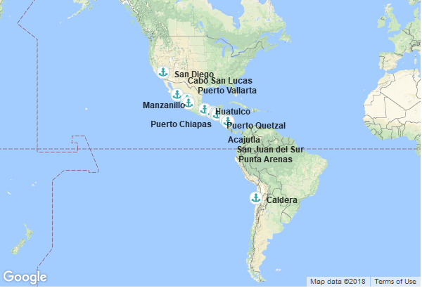 Itinéraire de la croisière : Chili, Costa Rica, Nicaragua, Salvador, Guatemala, Mexique, États-Unis