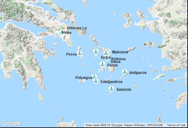 Itinéraire de la croisière : Grèce